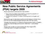 new public service agreements psa targets 2009