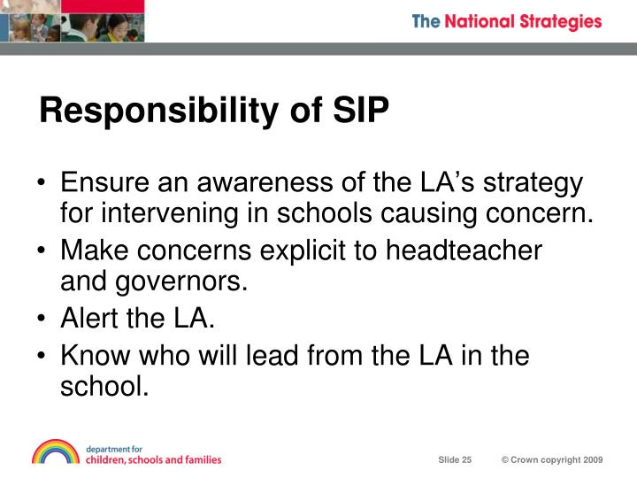 Responsibility of SIP