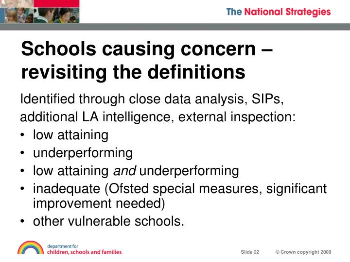 Schools causing concern – revisiting the definitions