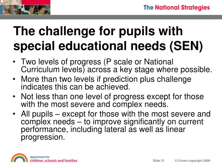 The challenge for pupils with special educational needs (SEN)