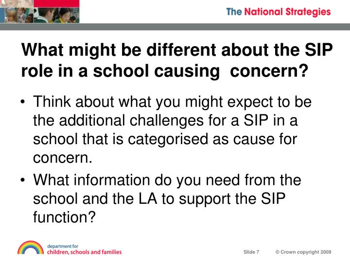 What might be different about the SIP role in a school causing  concern?