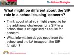 what might be different about the sip role in a school causing concern