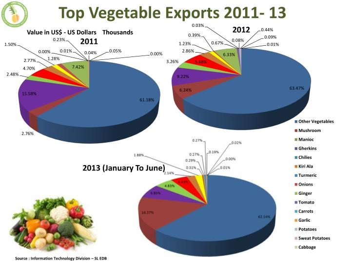 Top Vegetable Exports 2011- 13
