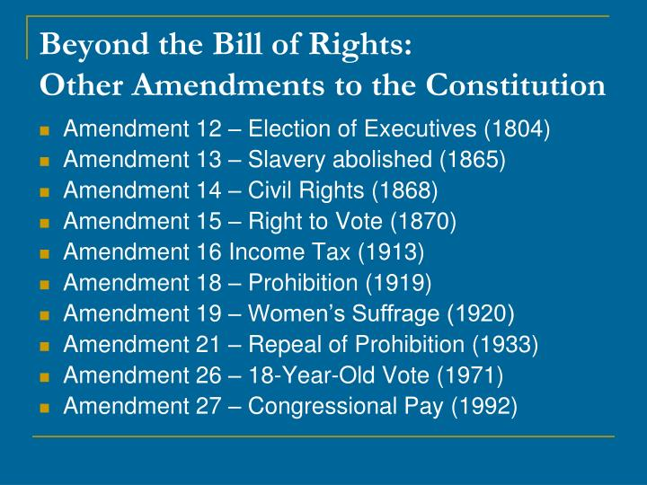 Beyond the Bill of Rights: