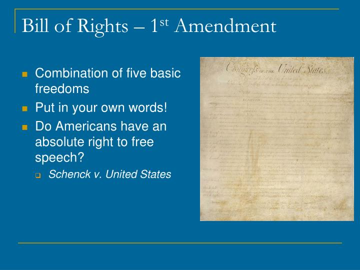 Bill of rights 1 st amendment