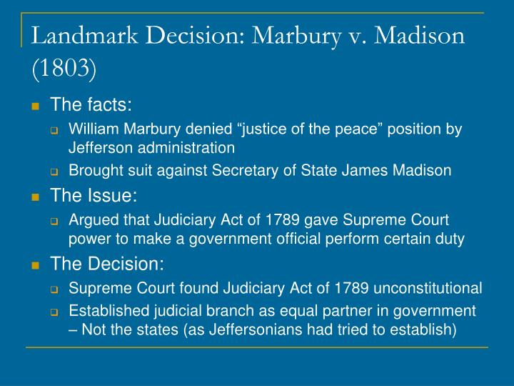 Landmark Decision: Marbury v. Madison (1803)