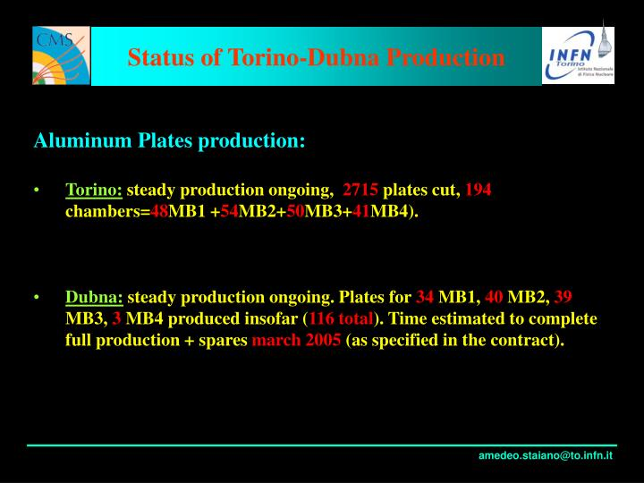 Status of torino dubna production