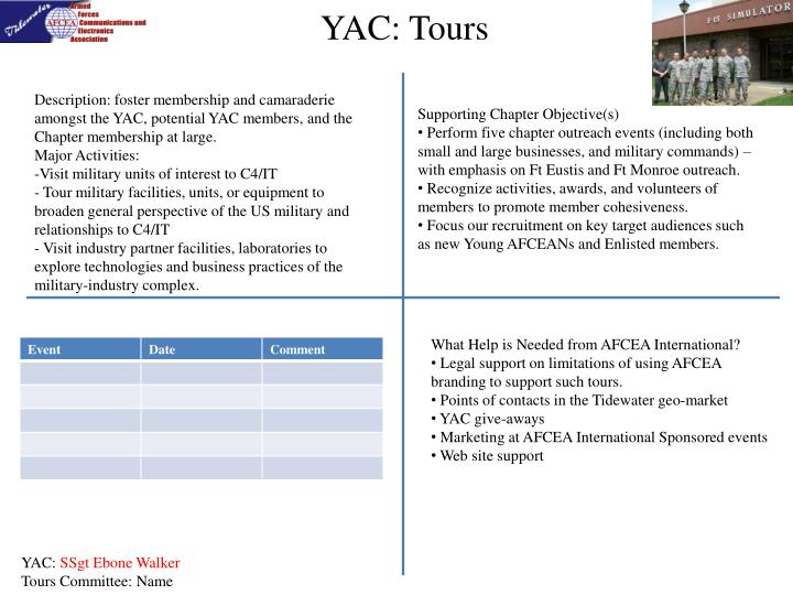 Description: foster membership and camaraderie amongst the YAC, potential YAC members, and the Chapter membership at large.