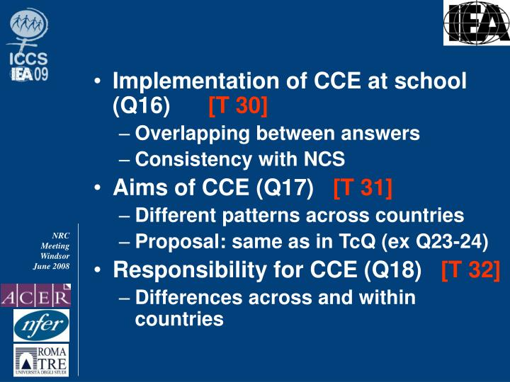 Implementation of CCE at school (Q16)
