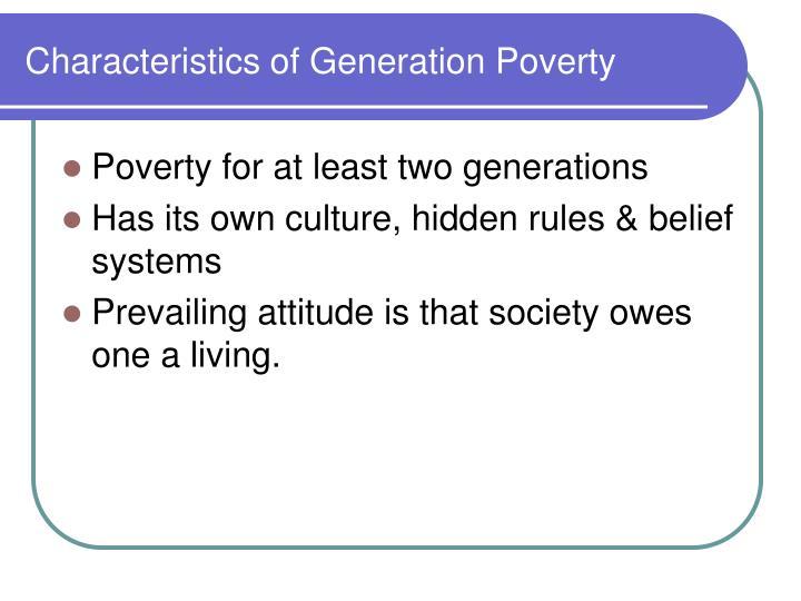 Characteristics of Generation Poverty