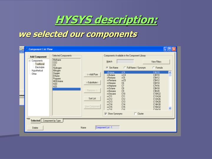 HYSYS description: