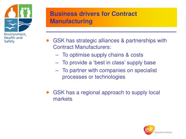 Business drivers for Contract Manufacturing