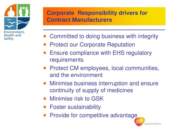 Corporate  Responsibility drivers for Contract Manufacturers