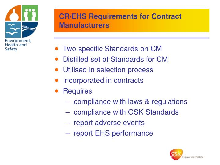 CR/EHS Requirements for Contract Manufacturers