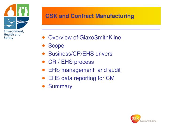 GSK and Contract Manufacturing
