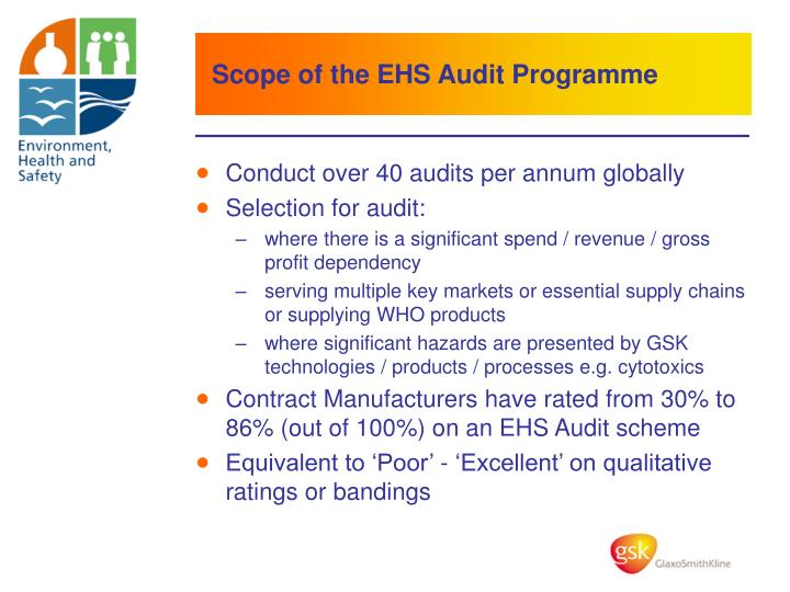 Scope of the EHS Audit Programme