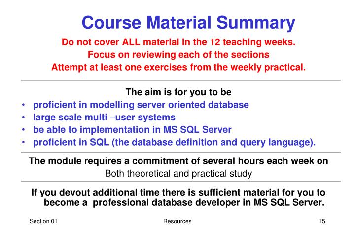Course Material Summary