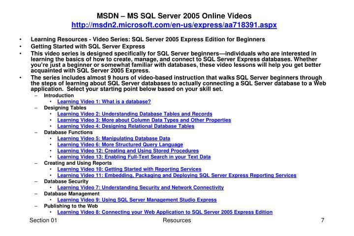 MSDN – MS SQL Server 2005 Online Videos