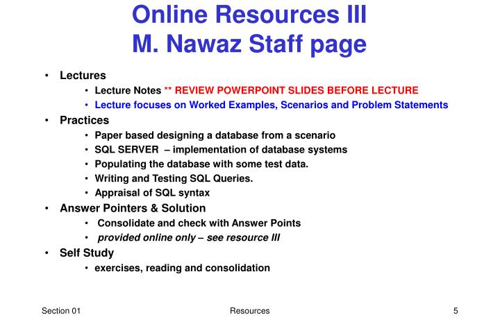 Online Resources III