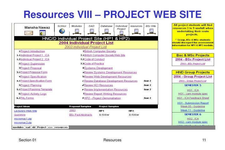 Resources VIII – PROJECT WEB SITE