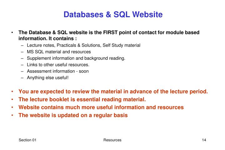 Databases & SQL Website