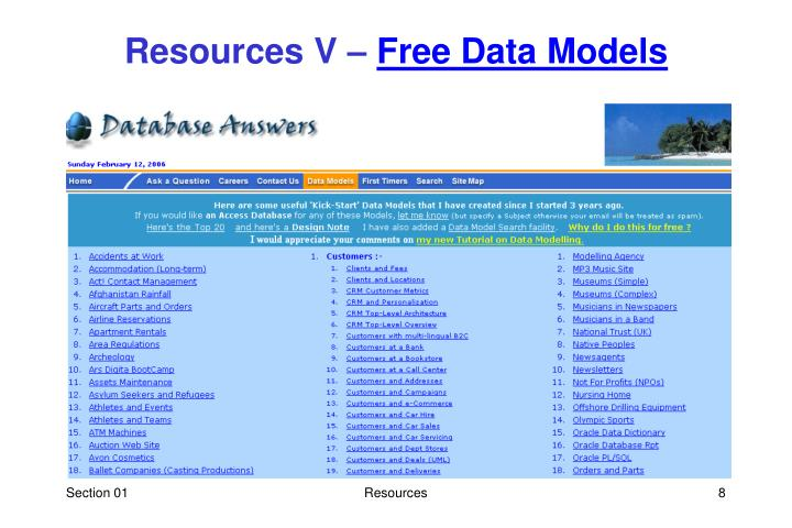 Resources V –