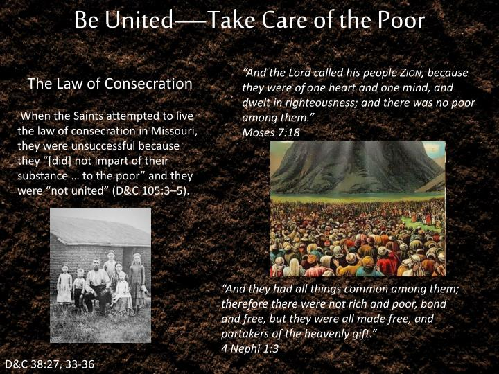 Be United—Take Care of the Poor