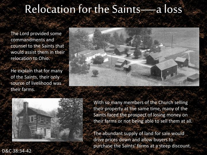 Relocation for the Saints—a loss