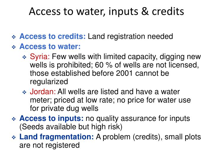 Access to water, inputs & credits