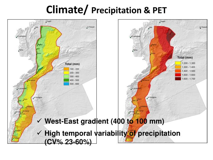 Climate precipitation pet