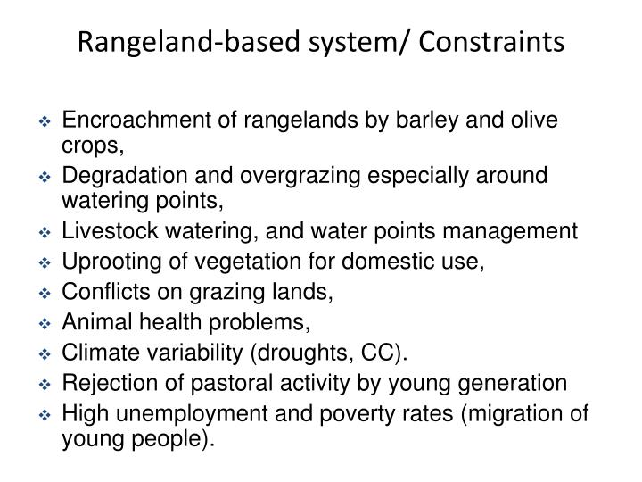 Rangeland-based system/ Constraints