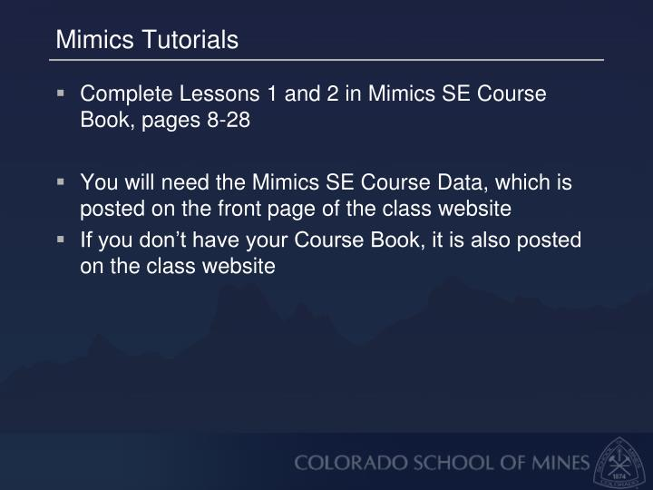 Mimics Tutorials
