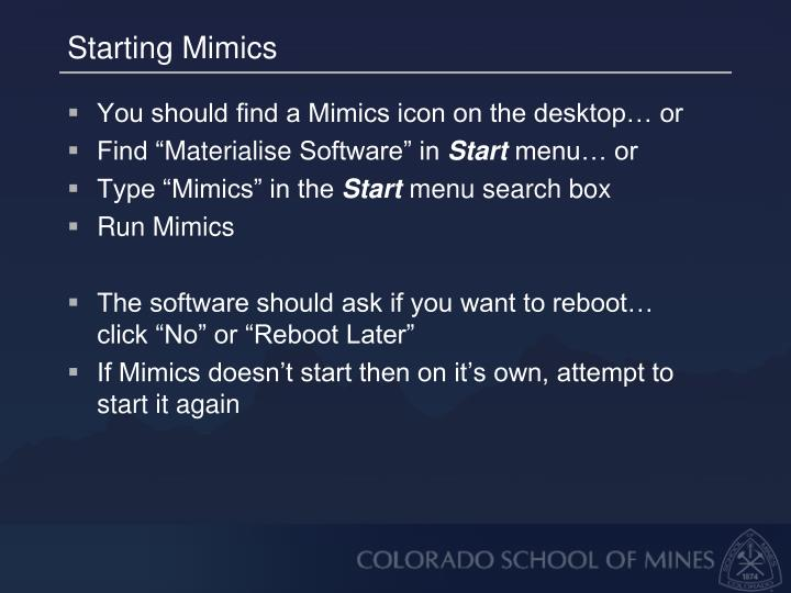 Starting Mimics