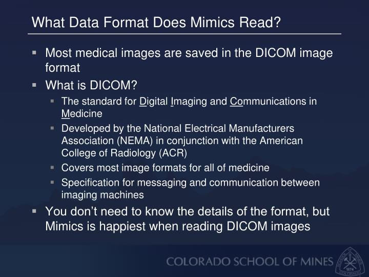 What Data Format Does Mimics Read?