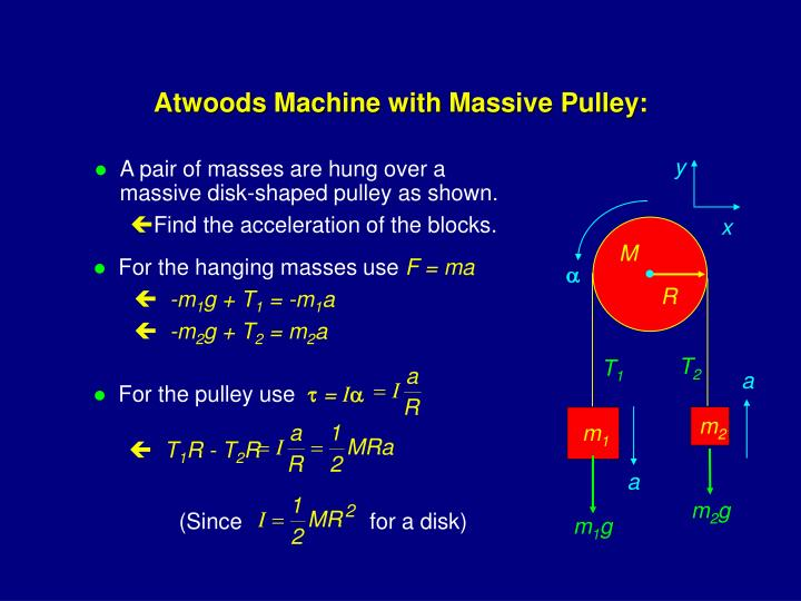 Atwoods Machine with Massive Pulley: