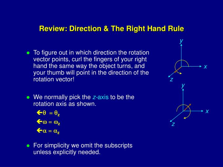 Review direction the right hand rule