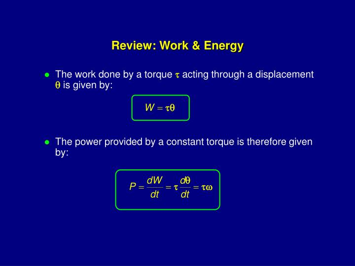 Review: Work & Energy