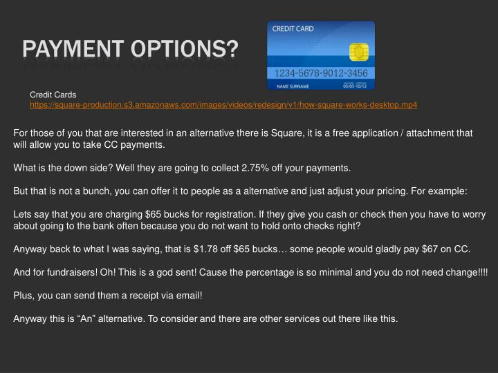 Payment Options?