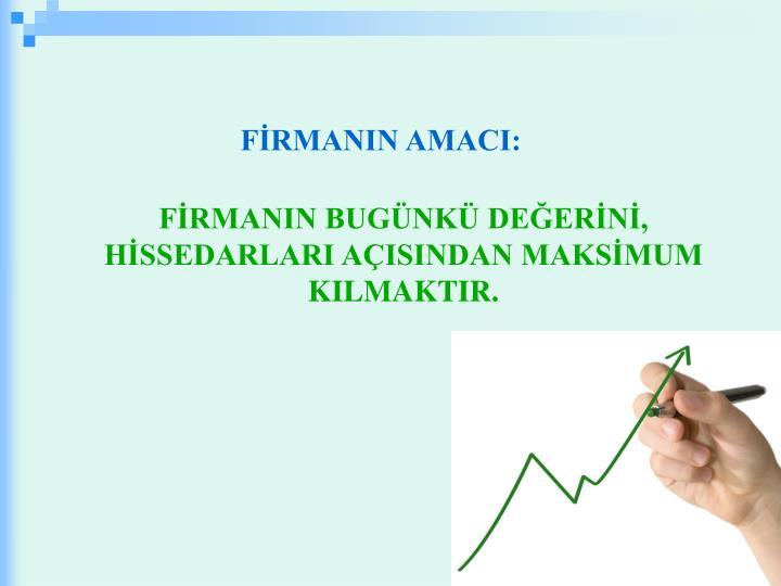 FİRMANIN AMACI: