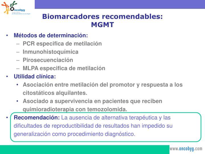 Biomarcadores recomendables: