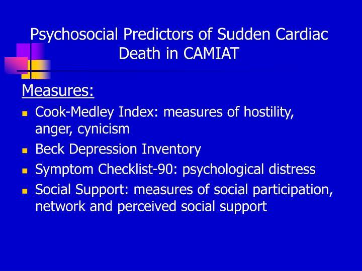 Psychosocial Predictors of Sudden Cardiac Death in CAMIAT