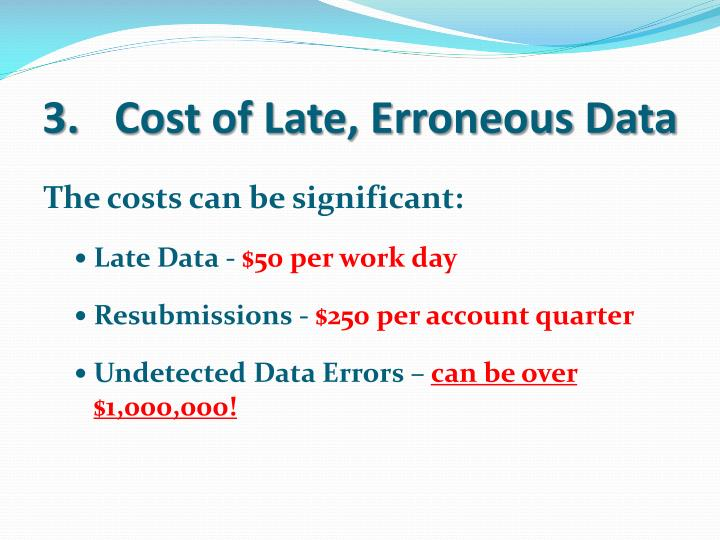 Cost of Late, Erroneous Data