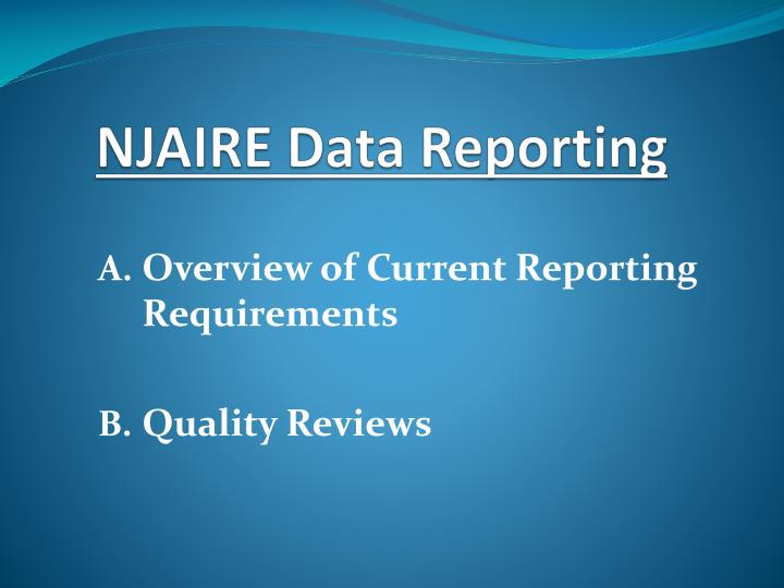 Njaire data reporting