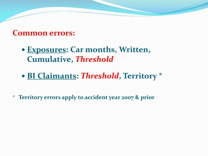 Common errors: