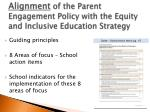 alignment of the parent engagement policy with the equity and inclusive education strategy