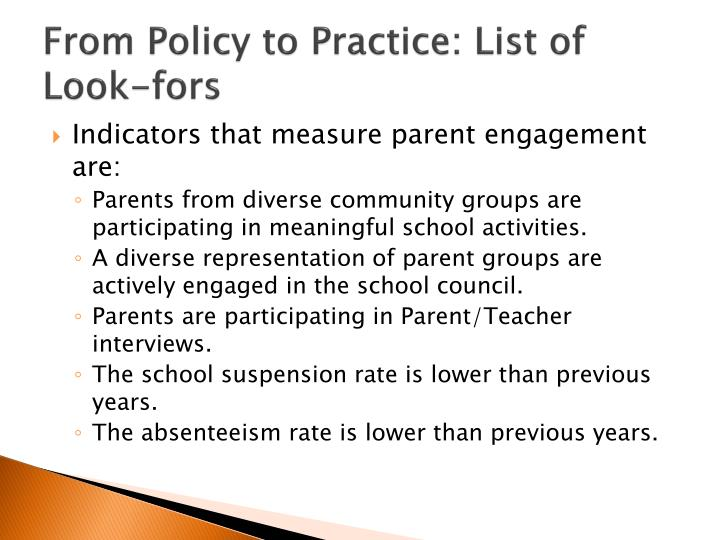 From Policy to Practice: List of Look-