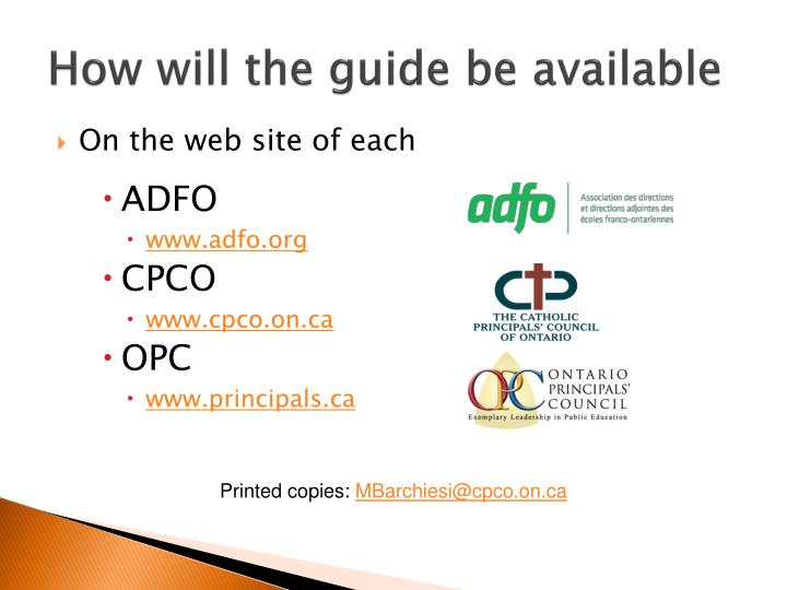 How will the guide be available