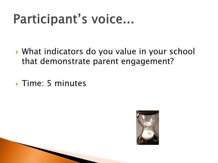 Participant's voice...
