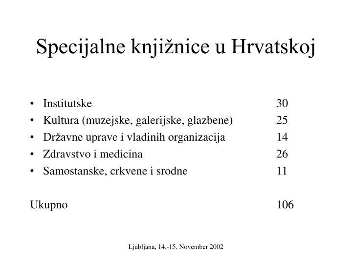 Specijalne knjižnice u Hrvatskoj