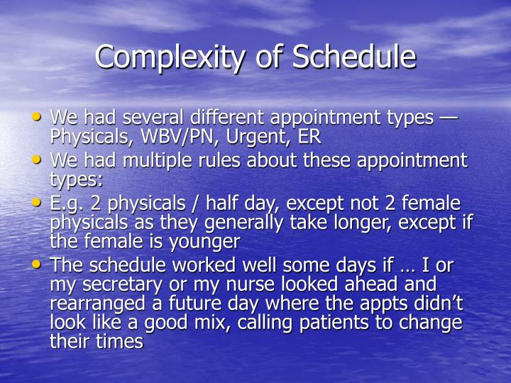 Complexity of Schedule
